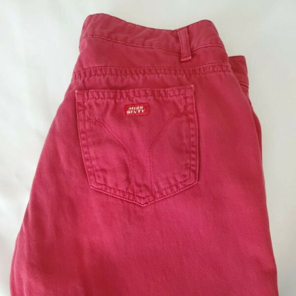 Miss Sixty Denim Jeans Tommy Women#x27;s Size 28 Flare Crop Ankle Red Pants $23.00