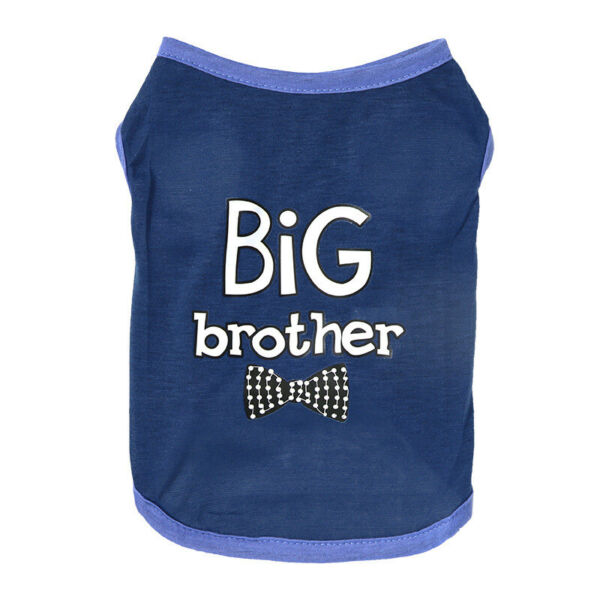 Small Dog Cat Cloth Big Brother Letter Printing Vest For Puppy Spring And Summer $5.99