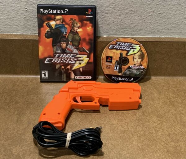 Time Crisis 3 for PlayStation 2 PS2 With Guncon Light Gun TESTED Game amp; Gun Set $59.95