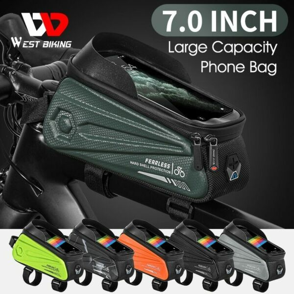 Bicycle Bags Rainproof Front Frame Top Tube Cycling Bag MTB 7.0in Phone Case $22.99