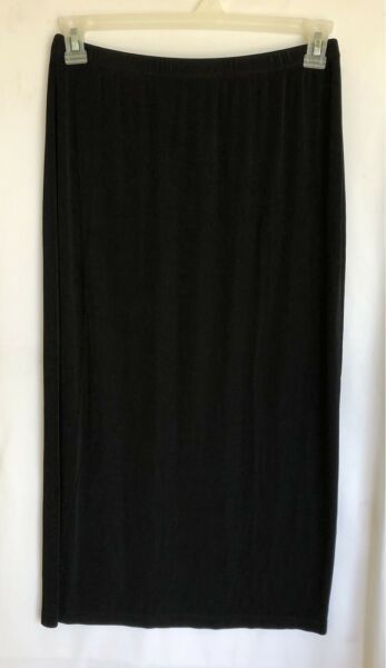 Chico#x27;s 2 Travelers Slinky Skirt Long Black Straight No Slit Modest Size Medium