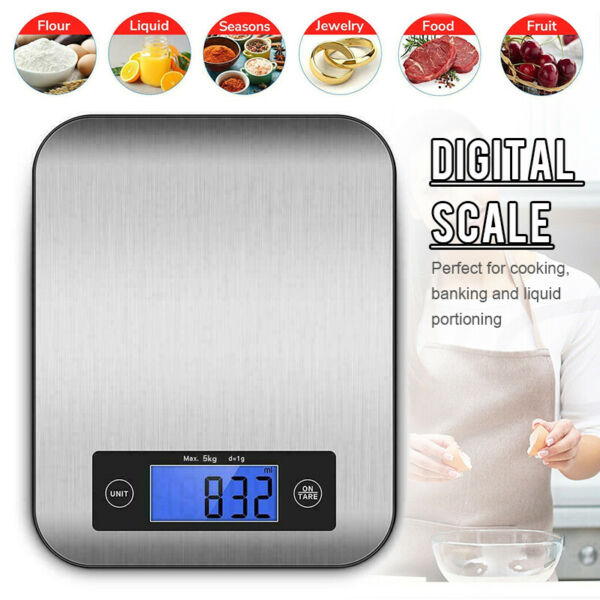 US LCD 5kg Kitchen Digital Electronic Scale Stainless Food Weighing Balance
