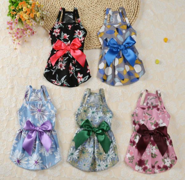 Summer Pet Dress Flowers Printing Pretty Dress With A Bow For Small Dogs Clothes $7.99
