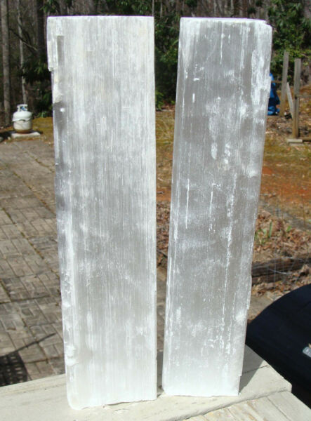 Selenite Natural Logs Set Of 2 pieces 3 lbs 4 ounces Total Weight 10 1 2 inches