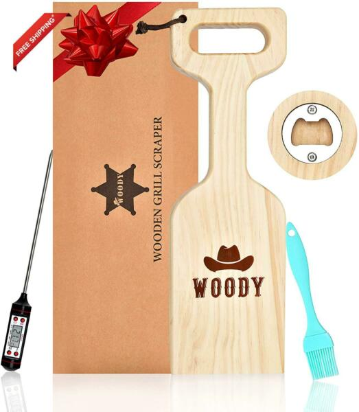 Woody Wooden Grill Scraper Natural Cedar Wood Bbq Grate Cleaner Tool With Meat