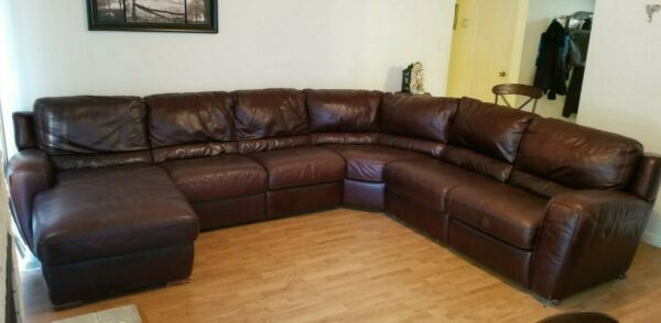 Italian Leather Sofa Sectional brown excellent condition $765.00