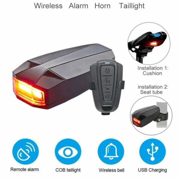 LED Anti theft Remote Bicycle Alarm Lights Wireless Electric Cycling Bell Lights $34.15