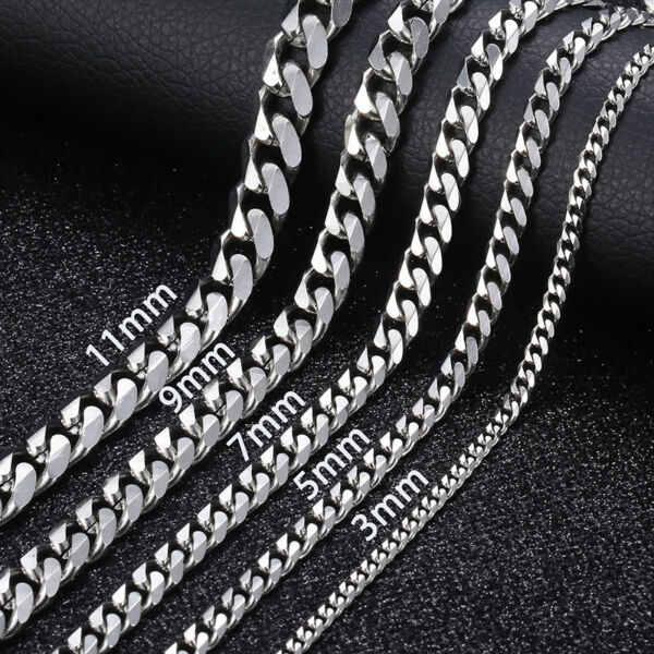 16 36quot; Stainless Steel Silver Chain Cuban Curb Womens Mens Necklace 3 5 7 9 11mm $7.88