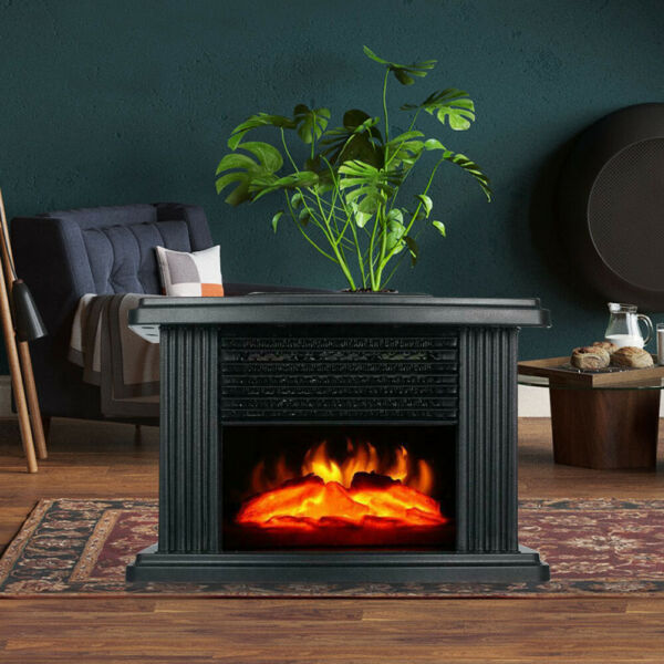 1KW Embedded Electric Fireplace Small Air Heater 3D Simulation Carbon Fire Stove