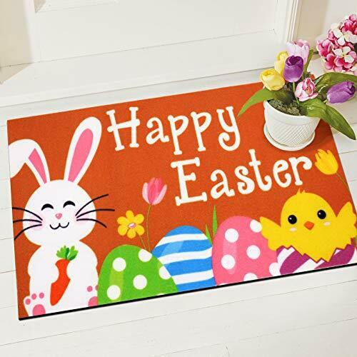 CiyvoLyee Happy Easter Bunny Doormat Indoor Outdoor Mats with Chick Easter Eg...