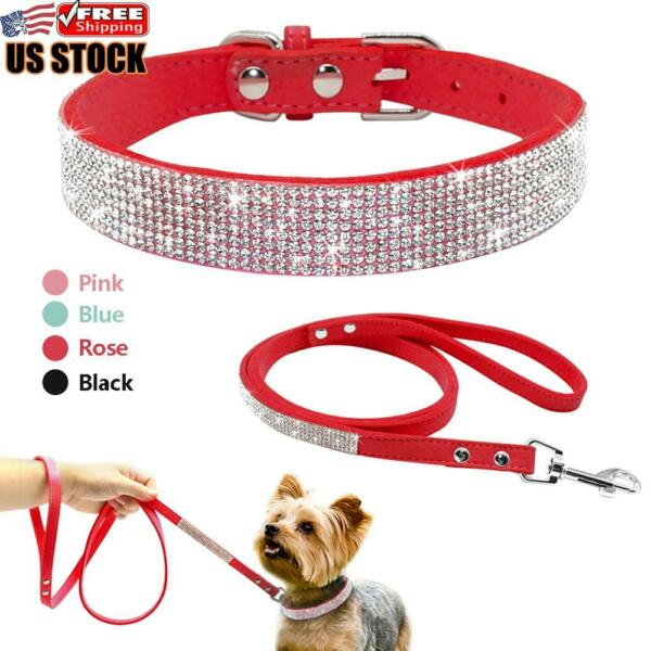 Bling Rhinestone Pet Dog Collars and Leads Leash for Small Medium Dog Puppy XS L $9.97