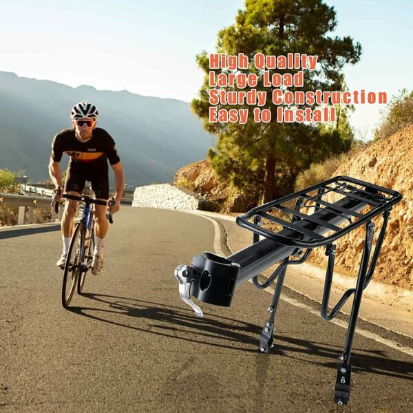 110 Lbs Iron Bicycle Rear Rack Quick Release Bike Carrier Adjustable Pannier $23.99