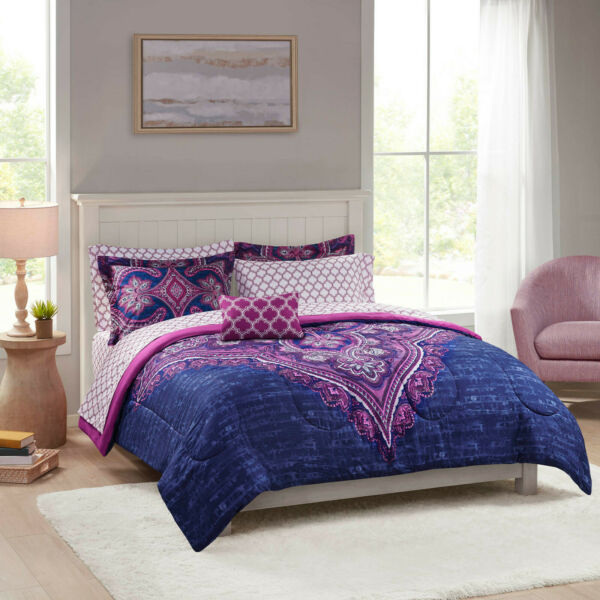 Grace Medallion Purple Bed in a Bag Complete Bedding Queen $43.50