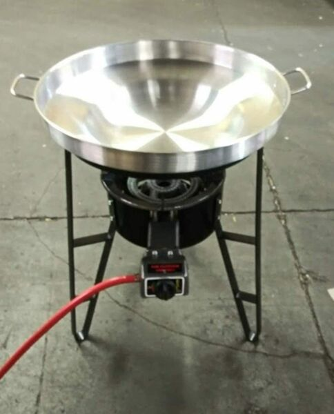 Stainless Steel 22quot; Comal Concave Disc Fire Taco Wok Set Propane Burner Stand