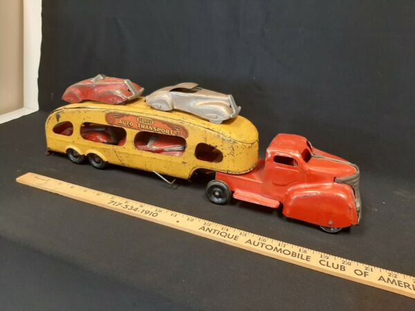 1940s MARX Auto Transport Car Carrier Pressed Steel Toy Truck w 4 cars ramps C $590.00