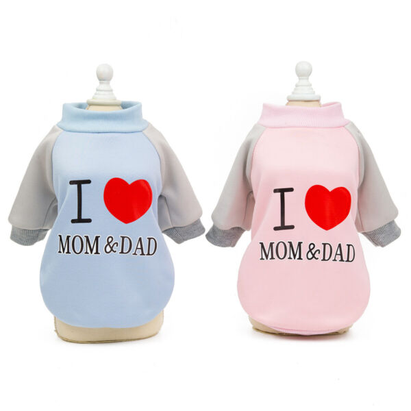 Pet Dog Clothes Cat Puppy Coat Spring Hooded I Love Mom amp; Dad Sweater Clothing $8.99