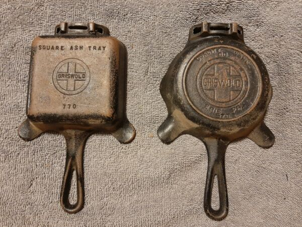 2 Griswold Cast Iron Ashtrays