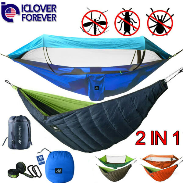 Camping Hammock With Mosquito Net Hanging Bed Ultralight Under Quilt Blanket $45.99