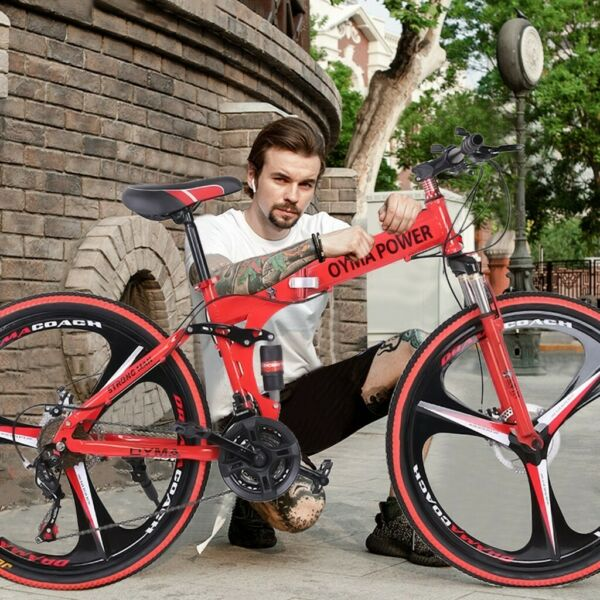 26in Folding Mountain Bicycle 21 Speed Bicycle Full Suspension MTB Adult Bike $199.99