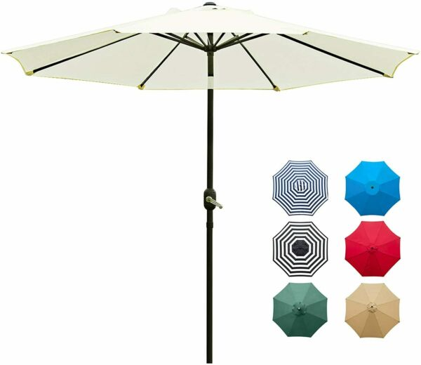 9#x27; Patio Umbrella Outdoor Table Umbrella with 8 Sturdy Ribs Beige $29.80