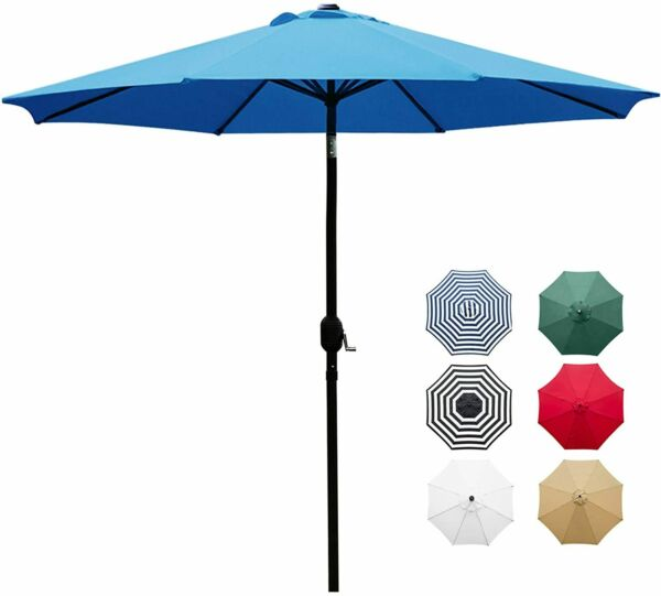 9#x27; Patio Umbrella Outdoor Table Umbrella with 8 Sturdy Ribs Blue $29.50