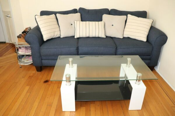 Elegant Navy Sofa For Sale Used in good condition Pillows included $600.00