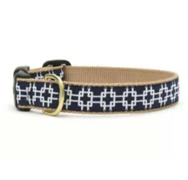 Up Country Dog Puppy Design Collar Made In USA Gridlock L Navy Blue $19.88