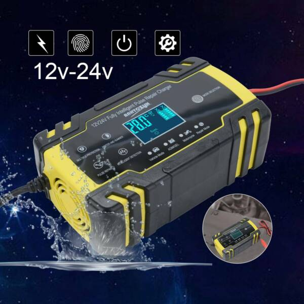 New Car Battery Charger 12V 24V Volt Motorcycle Battery Repair Type AGM Charger $17.94
