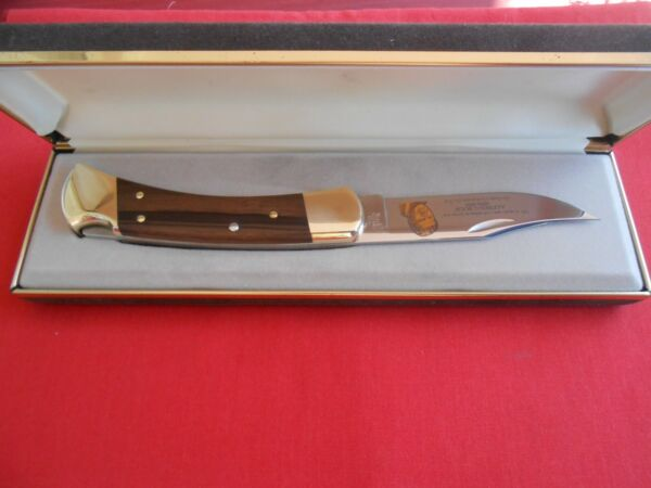 BUCK CUSTOM 110 ALFRED C. BUCK 1910 1991 LOCK BACK WOOD HANDLES KNIFE