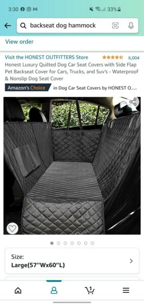 Honest Luxury Quilted Dog Car Seat Covers with Side Flap Pet Backseat Cover for $15.00