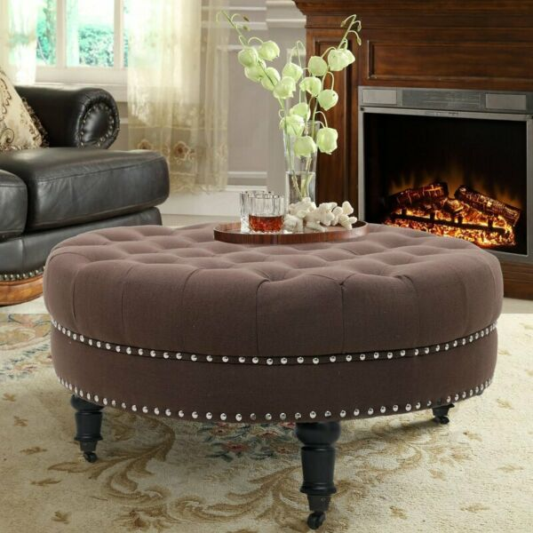 Modern 34quot; Ottoman Bench Furniture Living Room Footstool Coffee Table Coffee