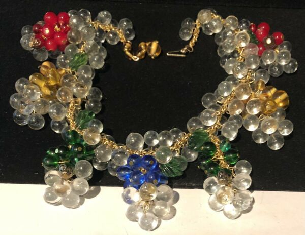 Rare Vintage Signed Miriam Haskell ALL Glass Drippy Dangle Statement Necklace $1850.00