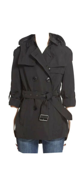 Burberry Women Knightsdale Short Hooded Black Trench Coat Sz US 04 $350.00