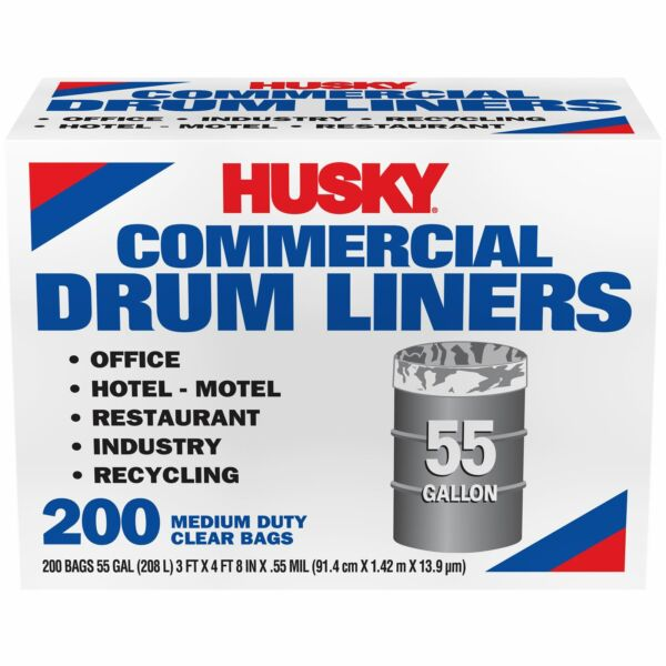 Husky 55 Gal Twist Tie 200 Ct Clear Commercial Can Liner $34.99