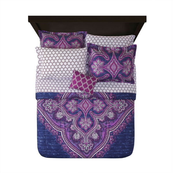 Grace Medallion Purple Bed in a Bag Complete Bedding King $47.50