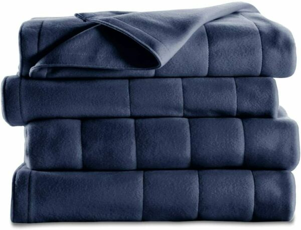 Sunbeam Heated Blanket 10 Heat Settings Quilted Fleece Newport Blue Twin $34.00