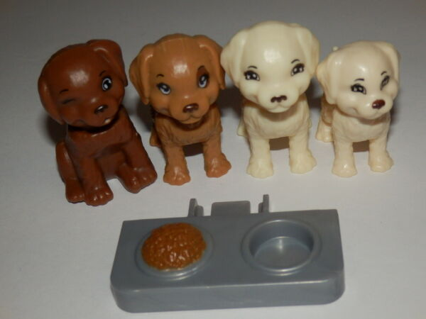 BARBIE CUTE DOG PUPPY PET OF 4 FOR DREAMHOUSE FASHIONISTA LOT BROWN WHITE $6.99