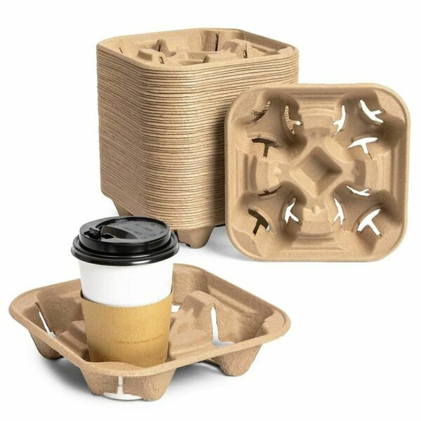 Pulp Fiber Coffee Carrier 4 Cup Carry Holder for Hot and Cold Drinks 60 Pack $20.99