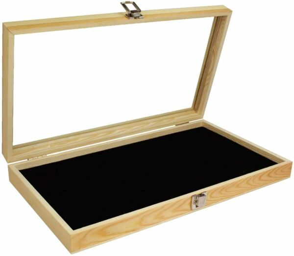 Wood Glass Top Lid Black Pad Display Box Case Medals Awards Jewelry New $29.99