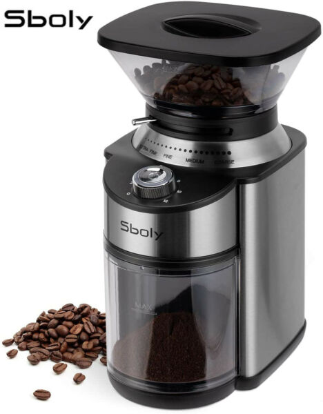 Sboly Coffee Grinder Conical Burr Electric Stainless Steel Adjustable Burr Mill