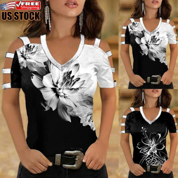 US Sexy Womens Summer Cold Shoulder Top T Shirt Ladies V Neck Casual Tee Blouse