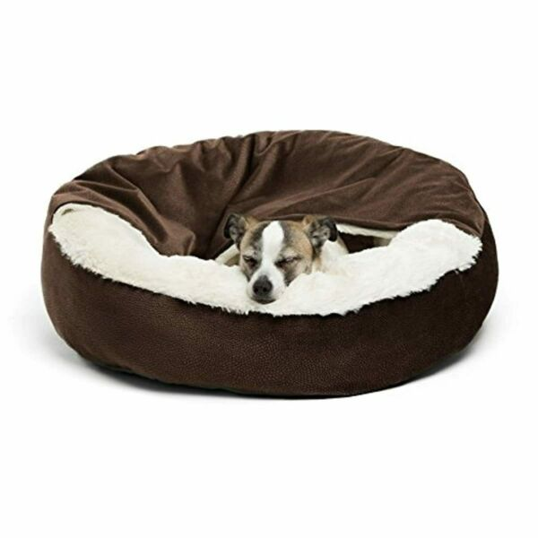 Cozy Cuddler Luxury Orthopedic Dog and Cat Bed with Hooded Blanket for Warmth an $45.43