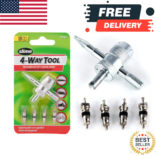 4 Way Car Bike Tire Valve Core Repair Tiny Remover Tool Bicycle Stem Cores Small $3.99