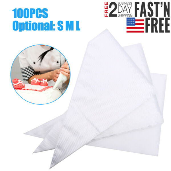 100× Large Disposable Pastry Bag Icing Piping Cake Cupcake Decorating Bags NEW