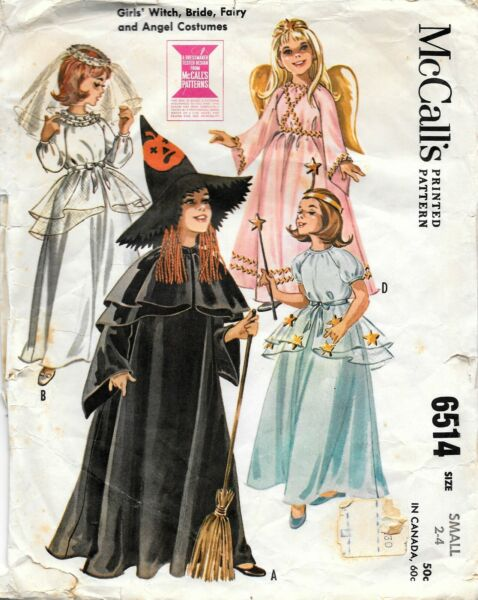 McCalls # 6514 Sewing Pattern: Girls Witch Bride Fairy Angel Costumes Size S 2 4 $14.99