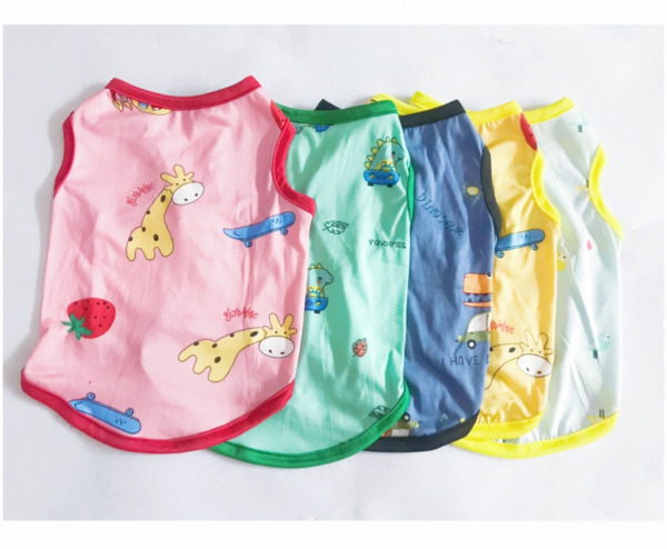 New Pet Clothes Cotton Vest With Cute Animal Printing Vest For Small Dog And Cat $4.99