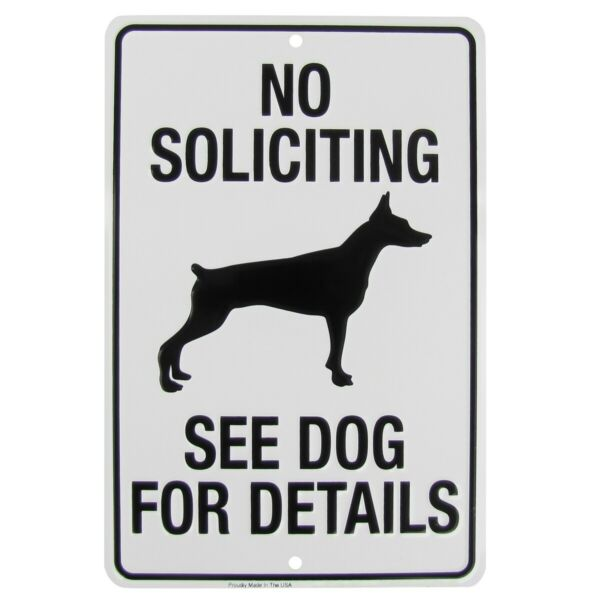 No Soliciting Go Away See Dog For Details Funny Metal Sign Yard Fence Home Decor $13.98