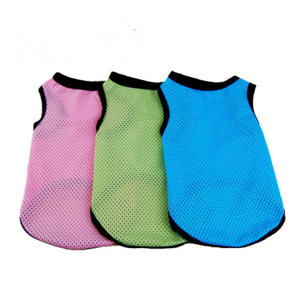 New Solid Small Dog Vest Puppy Clothes Breathable Mesh Vest Pet Cat Apparel $6.99
