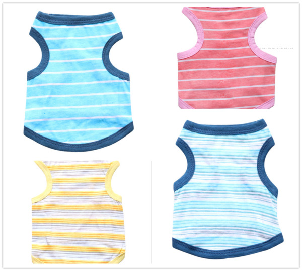 New Summer Spring Pet Clothes Cotton Stripe Vest For Small Dog And Cat Size XS L $5.99
