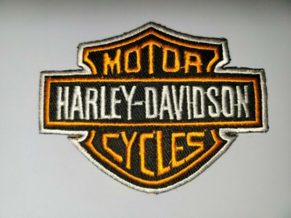 ORANGE HARLEY DAVIDSON OLD SCHOOL Embroidered Iron On Patches 3.5X2.75 $3.99